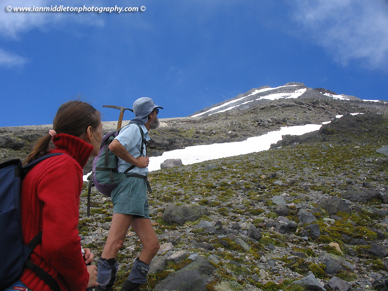 Eying the summit as we hike up Taranaki
