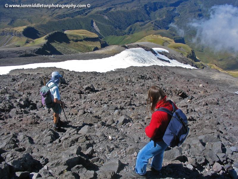Heading back down on our hike of Mount Taranaki (Egmont)
