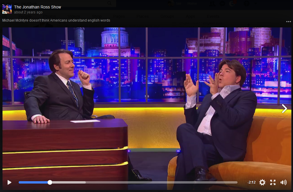 Michael Mcintyre talks about the difference between British English vs American English