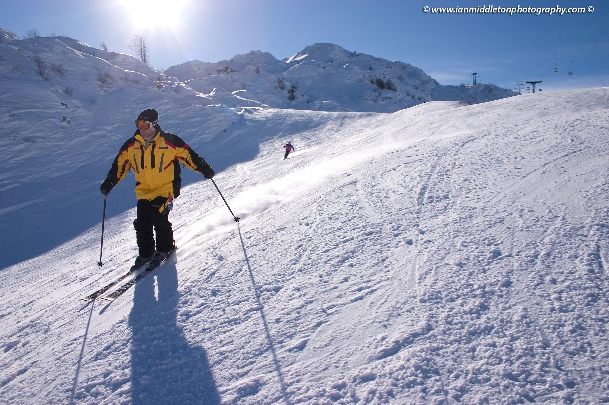 Skier on Vogel ski resort in Slovenia.