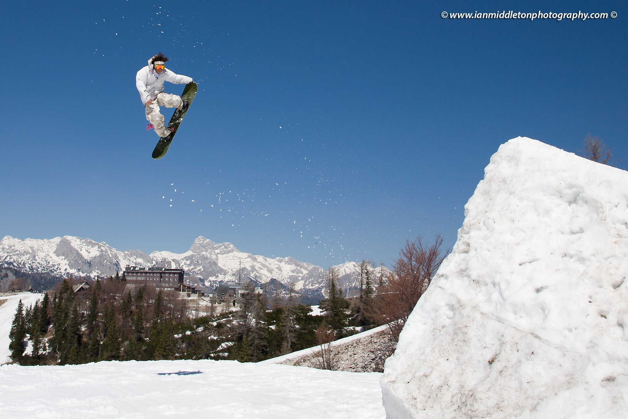 Snowboard jumper at Vogel Mountain, Slovenia