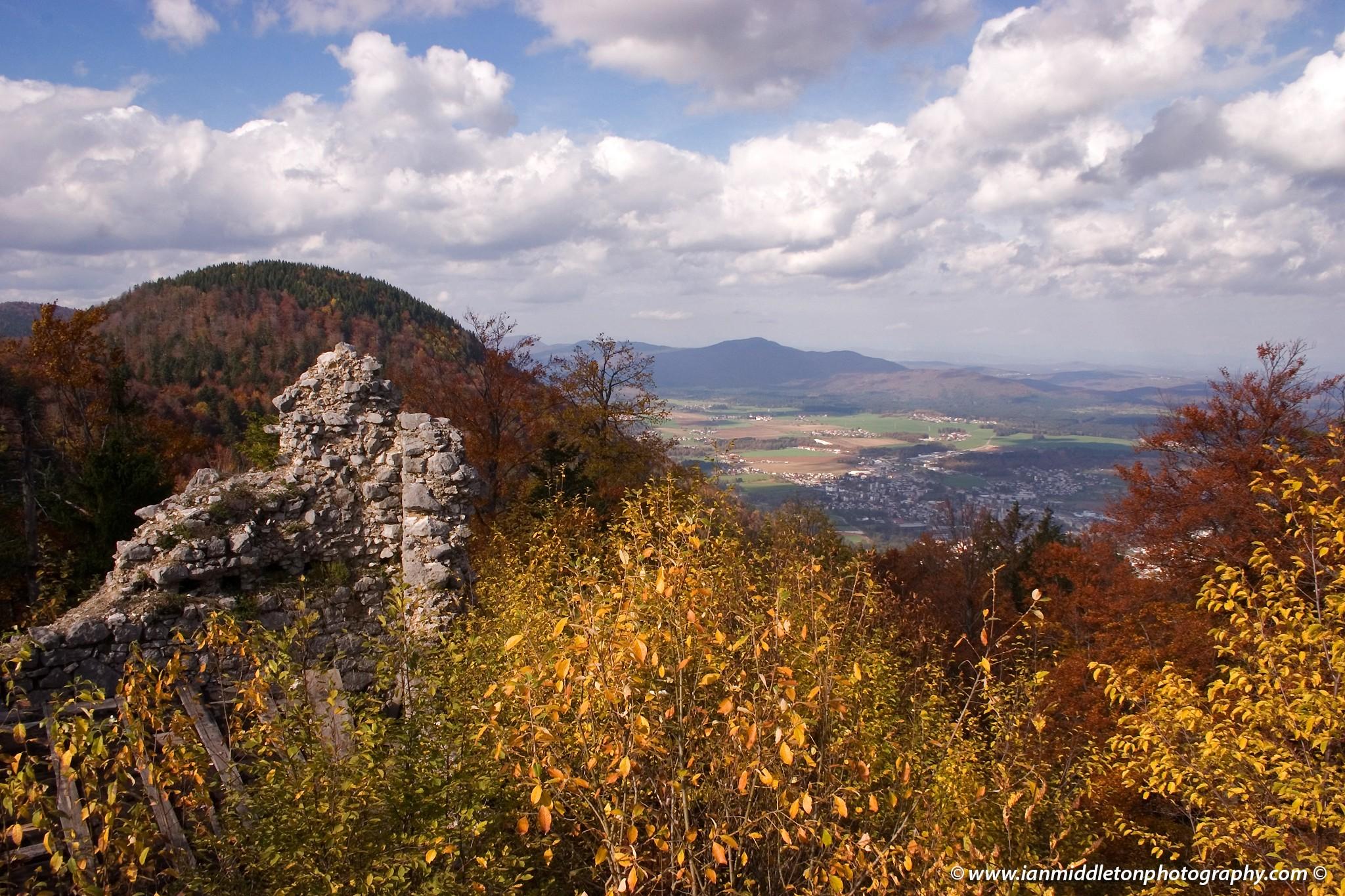 Ruins of Friedrichstein Castle, built as a love-nest by the Counts of Celje in 1422. Kocevje, Slovenia.