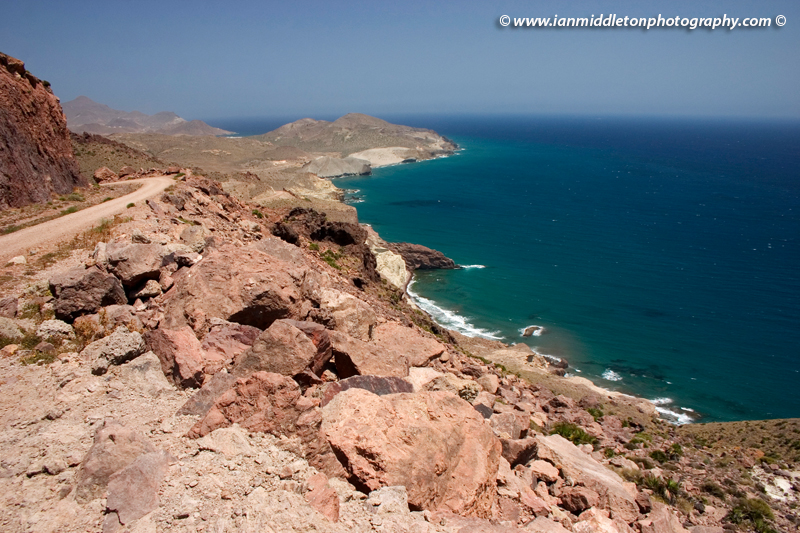 Landscape around San Jose in Cabo de Gata, Costa del Sol, Andaluci, Spain. Cabo de Gata is Europe's only desert and the dryest place in the whole of Europe.