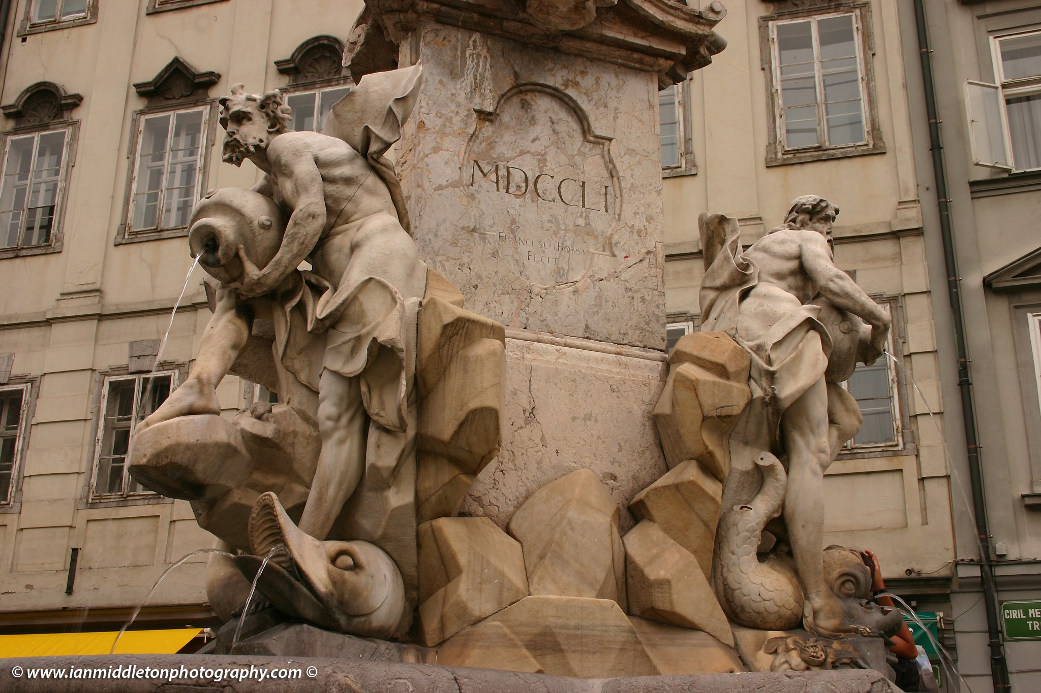 The original Robba Fountain, originally known as the Fountain of the Three Carniolan Rivers, Ljubljana, Slovenia. This was taken before it was moved to the National Gallery of Slovenia.