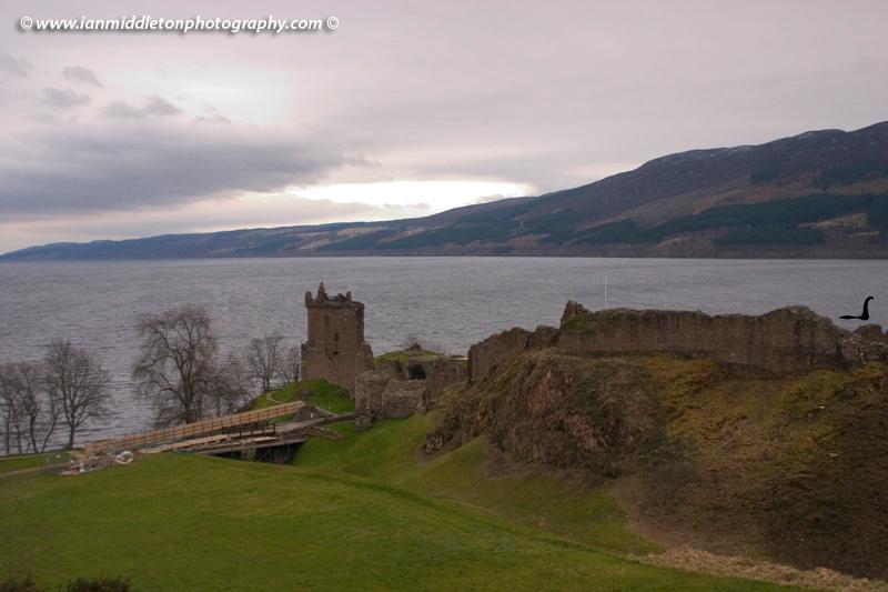 Urquart Castle at Loch Ness near Drumnadrochit, Scotland.