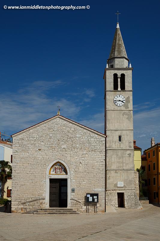 The parish church of St Kuzma and Damjan in Fažana, north of Pula, Istria, Croatia.