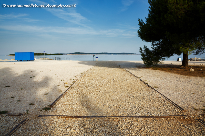 Hydroplane rails at Puntižela Beach, Štinjan north of Pula. In 1915 a naval hydroplane base was set up here in the Fažana Channel. Today it's a busy beach resort with a beautiful view of the Brijuni Islands.