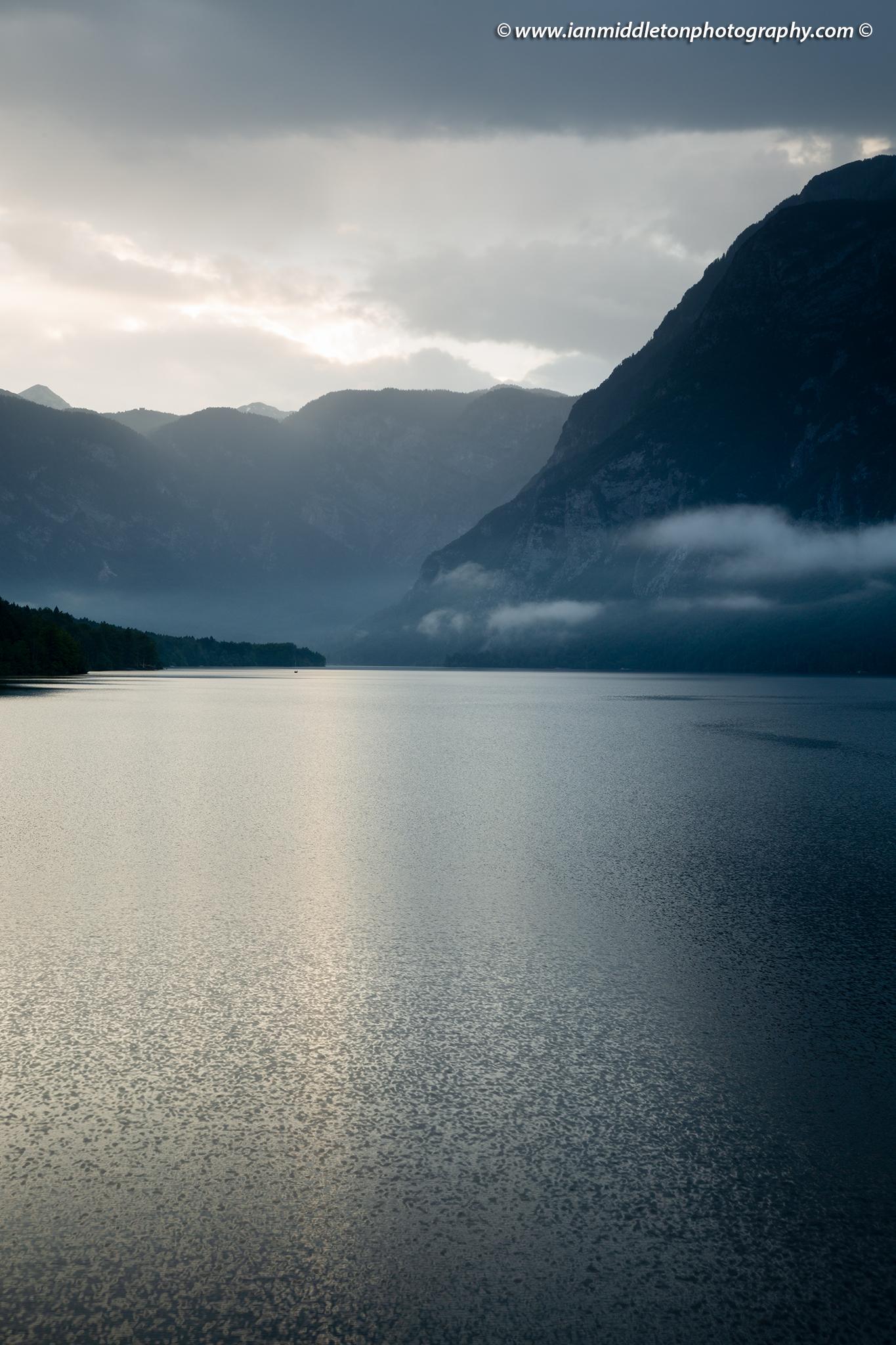 Rain over Lake Bohinj, Triglav National Park, Slovenia.