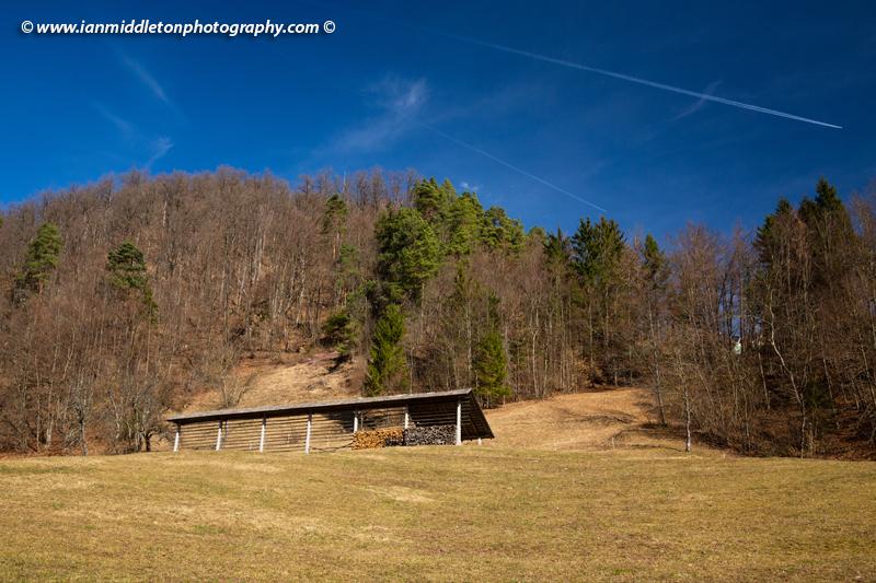 Kozolec in the Polhov Gradec Hill Range., on a hiking trail to the church of Saint Jacob (Sveti Jakob) near Medvode, Slovenia.