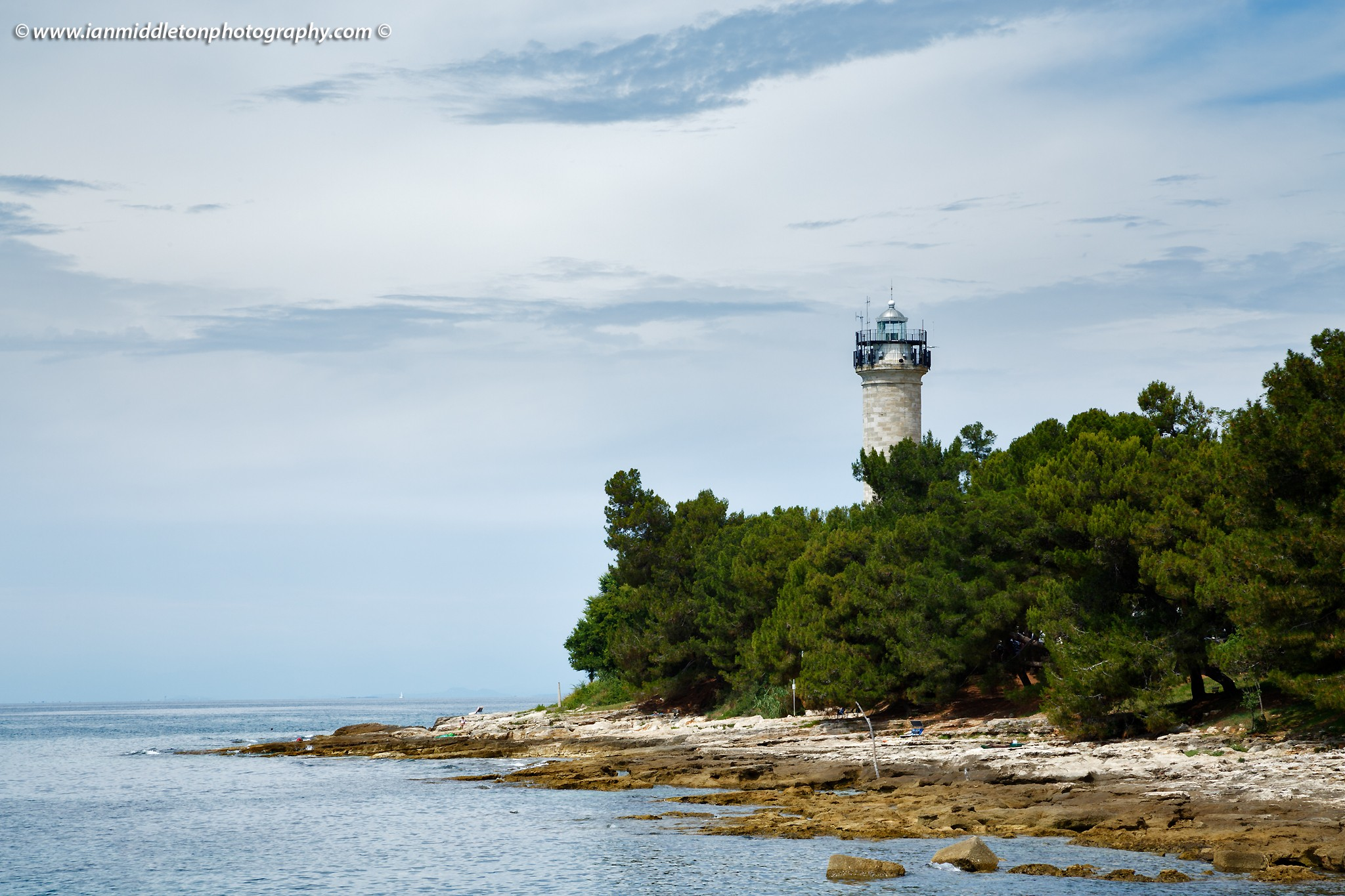 Savudrija Lighthouse seen from Basanija, Istria Coast, Croatia.