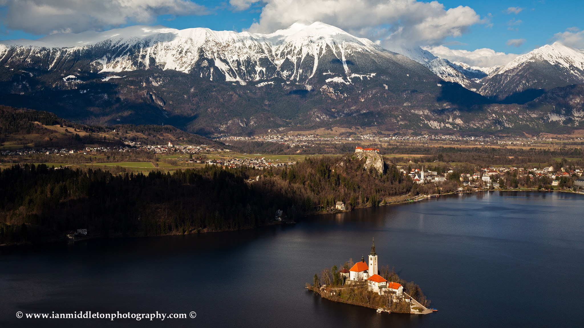 Lake Bled view from Mala Osojnica, Slovenia.