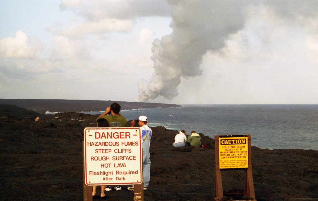 Start of the hike across the lava fields on the Kilauea volcano tour