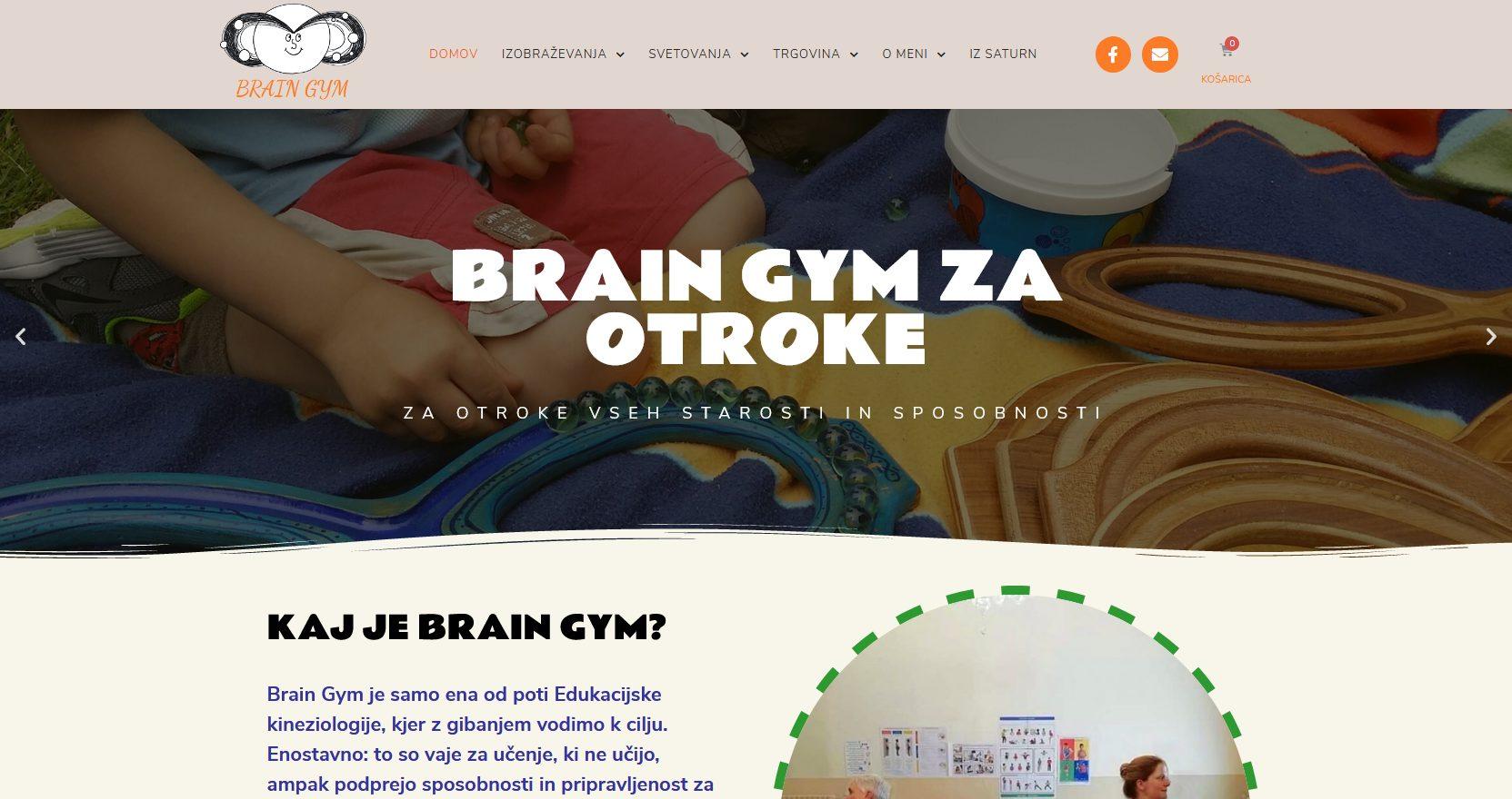 website design example - Brain Gym website by Ian Middleton